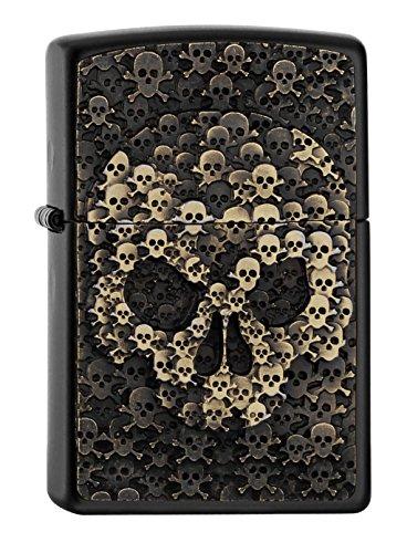 Zippo Skull-Black Matte-Spring 2017 Feuerzeug, Chrom, Silber, 5.8 x 3.8 x 2 cm