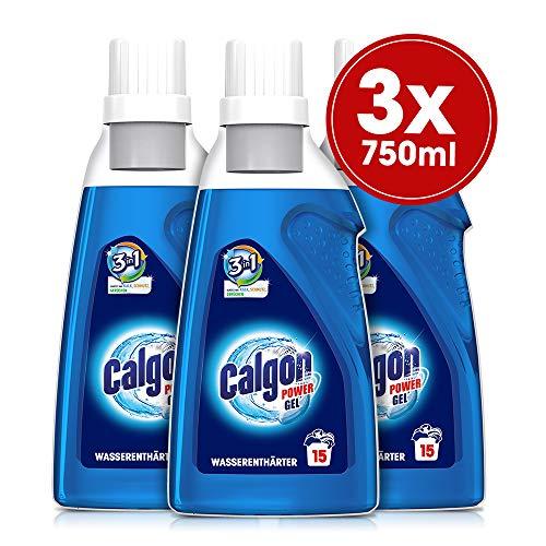 Calgon 3in1 Power Gel - Wirksam gegen Kalk, Schmutz und Gerüche - Schützender Wasserenthärter für die Waschmaschine - 3 x 750 ml
