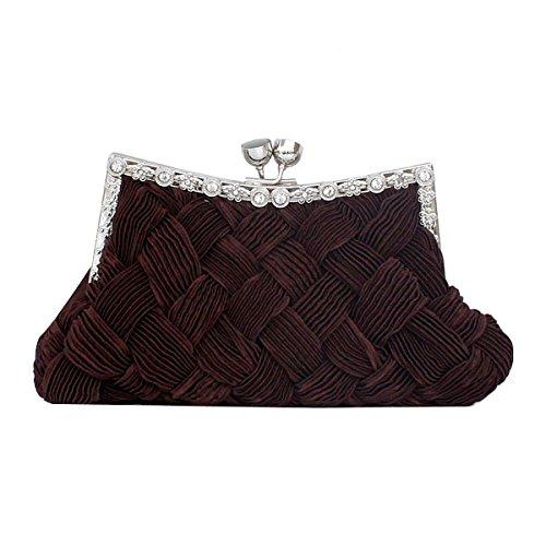 Dinner Tasche Seidenweberei Holding Kleidertasche Süß Damen Kleine Tasche Brautjungfer Kleines Paket Banketttasche Brown