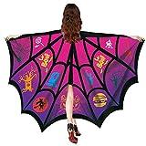 WOZOW Damen Schmetterlingsflügel Faschingkostüme Poncho Schal Tuch Umhang Nymphe Pixie für Party Cosplay Karneval Fasching (Heißes Rosa)