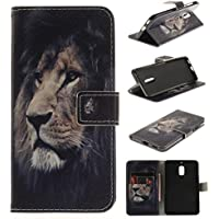 Nokia 6 Case Cover [Anti-Scratch][Waterproof], Cozy Hut Practical Fashionable Creative Retro Patterns PU Folio Leather Wallet Designer Flip Magnetic with [Wrist Strap] and [Card Holder Slot] Shock Absorber Full Body Protection Holster Case Cover Skin Shell for Nokia 6 - Lion king