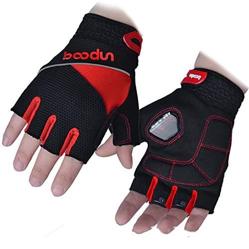 MISS&YG Männer Radfahrschuhe Halb-Finger-Dreieck Gel Silikon Shock Absorbiert Mountainbike Handschuhe,red,XL -