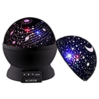 Night Light Stars,SCOPOW Dimmable Rotation Night Lamp Rotating Universe Sky Moon Sun Star Night Lighting Nursery Projector Gift for Decor Kids Baby Bedroom Sleepy ¡