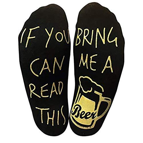 Ideapark Wein Socken, If You Can Read This Witzige Socken, Lustige Socken Mit Der Aufschrift Bring Mir Wein Gastgeber Einweihungsfeiern Geburtstage Muttertag Oder Für Weinliebhaber (Beer)