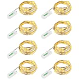 LEDGLE 24 LEDs Luci Stringa 3.9ft fili rame Bianco Caldo per Decorativi 8 pezzi,per Camera/Parti/costume Fare decorativo, a batteria (inclusa)