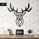 Hoagard Deer Head Metal Wall Art by Decorazione da Parete in Metallo a Forma di Testa di Cervo, 47 x 53 cm