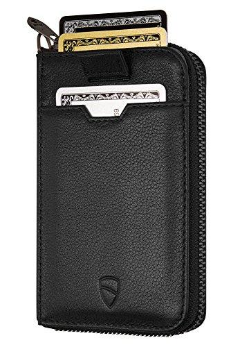 Vaultskin NOTTING HILL schlanke Brieftasche mit Reißverschluss und RFID Schutz. Geldbörse für Kreditkarten Bargeld Münzen (Schwarz)