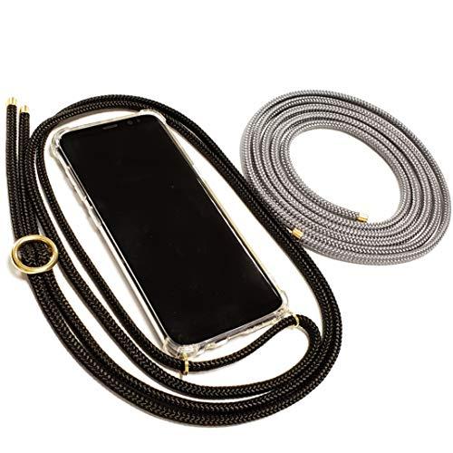 Pink Cinnamon Set Handykette mit Smartphone Hülle Plus Wechselband für Samsung Galaxy S7 Edge Band: Black, Wechselband: Charcoal Grey, Metallteile: Gold