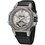 Snyper Mens 53mm Black Leather Band Titanium Case Mechanical Watch 70.910.00