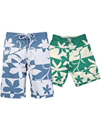 Mens Blend Quality Floral Flower Pattern Beach Surf Board Swimwear Swim Shorts Trunks