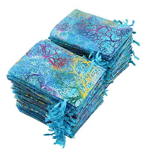 Soleebee 100 STK Korallen Muster Organzasäckchen Organza Schmuck Geschenk Beutel Hochzeit Säckchen Fest Party Beutel Schmucksäckchen Geschenktüten für Hochzeit Schokolade Süßigkeiten 9x12 cm (Blau)