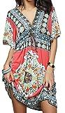 Vestidos de Verano Mujer Tallas Grandes Ropa Boho Chic Estampado Floral Étnico Vestido de Playa Fiesta Casual Profundo V Beach Cover Up - Landove
