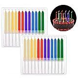Xrten 24 pcs Candela di Compleanno,Candeline per torte di compleanno Adatte a Tante Occasioni