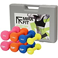 Mirafit 10kg Dumbbell Weight Set with Carry Case - Yellow/Blue/Orange/Pink