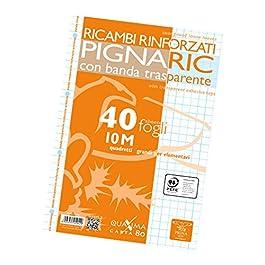 Pigna 022223710, Ricambio con Banda Rinforzata, Rigatura 10, quadretti 1 cm per 1° elementare, Carta 100g/mq, Pacco da…