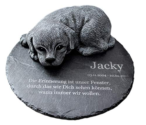 Tiefes Kunsthandwerk Gedenkstein Hund mit Wunschtext als Gravur, für Dein Haustier als wunderschöne Erinnerung für Dein Zuhause oder als Grabschmuck