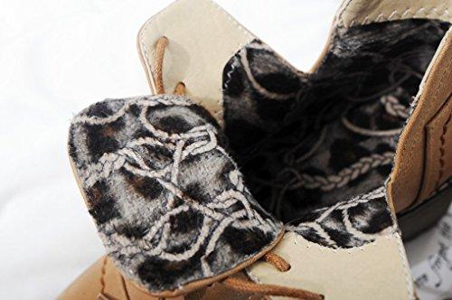 Oaleen Tacco Blocco In Mezzo Scarpe Pizzo Derby Stivali Invernali Donna Pelliccia Vestito Cammello Da dF8Fq
