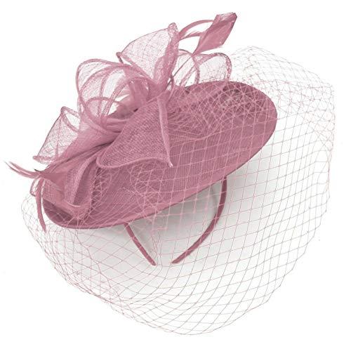 Caprilite Untertasse, Sinamay, Kopfband, Fascinator, Hochzeit, Ascot Hatinator Gr. Einheitsgröße, Dustypink
