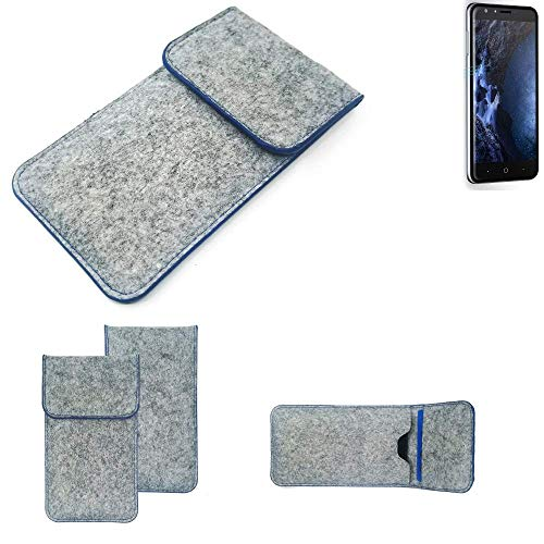 K-S-Trade® Filz Schutz Hülle Für -Doogee Y6 4G- Schutzhülle Filztasche Pouch Tasche Case Sleeve Handyhülle Filzhülle Hellgrau, Blauer Rand
