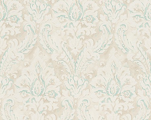 A.S. Création Satintapete New Classics Tapete neo-barock 10,05 m x 0,53 m creme grau metallic Made in Germany 304943 30494-3