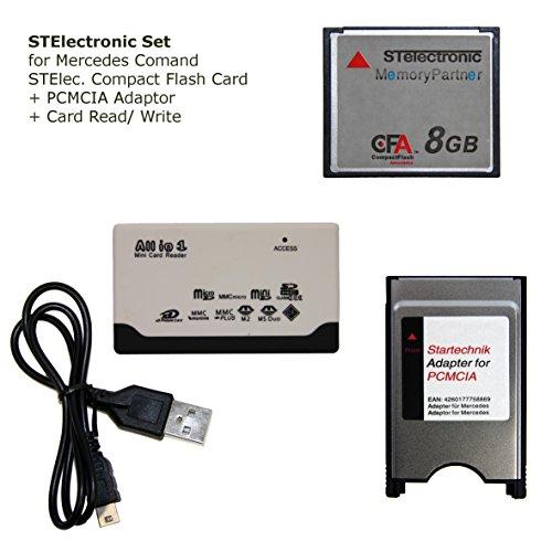 STElectronic 8 GB Set für Mercedes COMAND APS NTG 3 NTG 4 Code 527 513 mit Speicherkarte Compactflash 8 GB, USB Lese- & Schreibergerät und PCMCIA Adapter mit PCMCIA Schacht - 3 in 1 Set 8GB