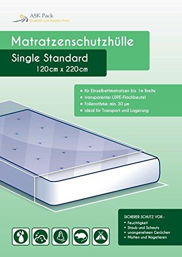 Housse De Protection Matelas 'Single' pour matelas 100cm de large - protection simple pour le déplacement, le transport et le stockage