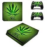 Morbuy Ps4 Slim Skin Consola Design Foils Vinyl Pegatina Sticker And 2 Playstation 4 Slim Dualshock Controlador Skins Set (Green Leaf)