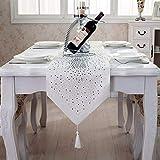 Tenrany Home Western Chemin de Table, Moderne Diamant Paillette Brillant Table Runners Tassel décoration pour Mariage Fête Table à Manger (Blanc, 13.0 x 95 inches)