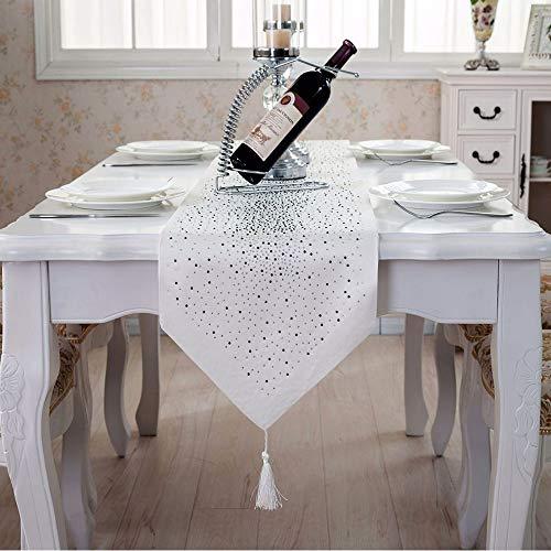 Deggodech diamante runner da tavola moderno brillantini strass runner per tavoli con nappa seta damascata tabella bandiera tavolo da pranzo decorazioni natalizie per la casa (bianco, 32x185cm)
