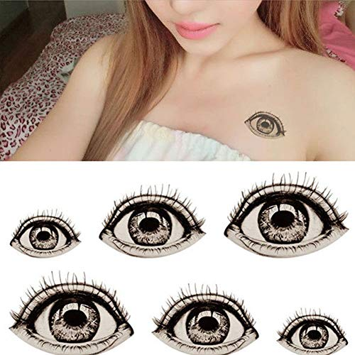 Renendi Halloween-Requisiten 2 Stück DIY Big Eye Temporary Fake Tattoo Aufkleber Wasserdicht Body Art Party Cosplay Kostüm Supplies multi (Zwei Arten Von Kostüm Mädchen)