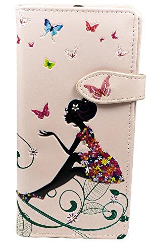 Shagwear Junge-Damen Geldbörse, Large Purse: Verschiedene Farben und Designs: (Schmetterling Oase Rosa/Butterfly Oasis)