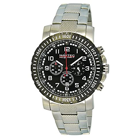Nautec No Limit Herren-Armbanduhr XL Precision Chronograph Quarz Edelstahl NNL-PRC-QZ-STSTBKBK
