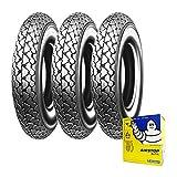 Tre gomme pneumatici Michelin S83 3.50-10 59J camera d'aria Vespa PX 125/150