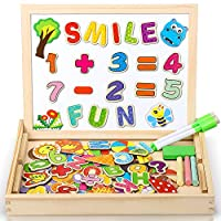 DOOKEY Magnetic Wooden Puzzles Jigsaw, Double Face Drawing Easel Board with over 100 Pieces Cards, Educational Learning Toys for Kids, Toddler (Number Pattern)