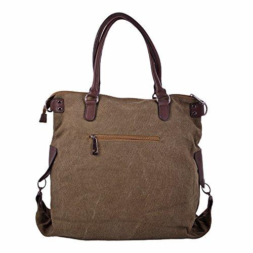 LeahWard® Groß Schule Taschen Damen Segeltuch Schultertasche Handtasche A4 160163 160164 160163-Khaki