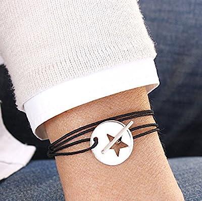 bracelet cordon plaque étoile connecteur T en argent 925