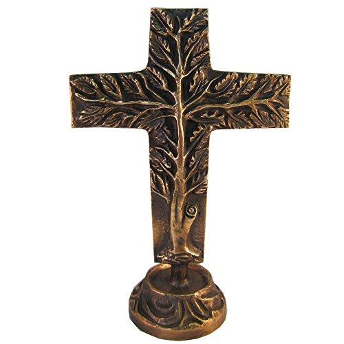 Wilde Stehkreuz Lebensbaum doppelseitig Bronze Kreuz 24 cm * 16 cm