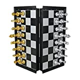 Magnetic Travel Chess Set Traditional Folding Chess Board Game Set Educational Toys for Kids Adults with 32 Chess Pieces (Gold&Silver)