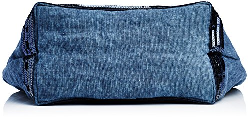 Vanessa Bruno Cabas Medium + -Lin et Paillettes, Cabas bleu(893 Denim)