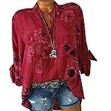 Sonnena Damen Sommer Langarm V-Ausschnitt Taste T-Shirt Pullover Frauen Große Größe Chiffon Hemd Bluse Mode Blumen Drucken Lose Fit Oberteile Tops (4XL, Sexy Rot)