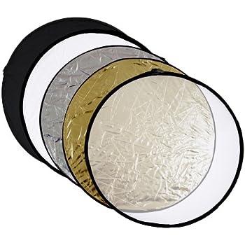 meymoon 5in1 Faltreflektoren Set - 80cm Ø - gold, silber, schwarz, weiß und Diffusor - (Faltreflektor Studiozubehör)