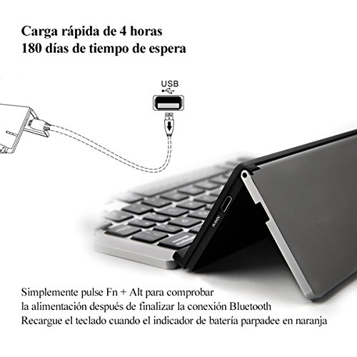 Teclado Plegable de Bluetooth, iEGrow F18 Teclado Inalámbrico Portátil Universal de Bluetooth 3.0 con Soporte Para Apple iPad iPhone 7 Plus IOS, Tabletas de Andriod Windows Smartphone(Gris)