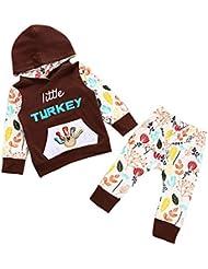"""Covermason Bebé Niña Thanksgiving Conjunto - Lindo """"little turkey"""" Impresión Encapuchado Suéter y Flor Pantalones para 0-2 Años"""