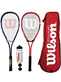 Wilson Pro racchette da squash (2 pezzi, bianca e rossa / blu e bianca) + 3 palline