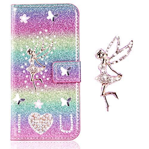 Magnetverschluss Hülle für iPhone 8 Plus iPhone 7 Plus,Bookstyle Flip Wallet Stand Funktion Ledertasche Musterg Diamond Sparkle Slim Bling Glitter Glitzer Karteneinschub Schutzhülle Handy-cover Rainbow Glitter