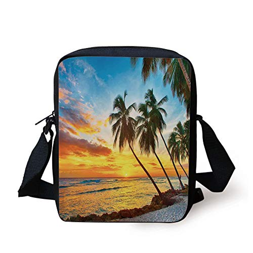 Ocean,Fairy Sunset Over The Sea with The Palms on The Beach at a Caribbean Island in Barbados Horizon,Multi Print Kids Crossbody Messenger Bag Purse (Cave Girl Island)
