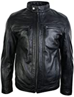 Mens Retro Style Zipped Biker Jacket Real Leather Soft Black Vintage Smart Casual