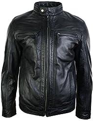 hommes style rétro zippée veste de motard en cuir véritable des doux vintage noir chic et décontracté