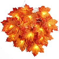 4m 40 LED Artificial Autumn Maple Leaves String Wire Lights Fall Garland Battery Operated Decoration for Christmas Halloween Wedding Party Holidays Home Garden Bedroom
