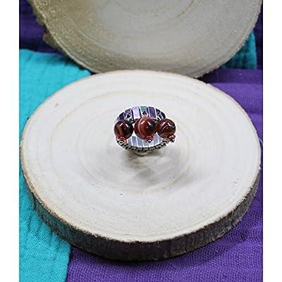 Bague Acier Ajustable Perles Pierres Gemmes : Sardonyx Rouge